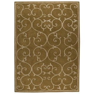 M.A. Trading Indo Hand-tufted Annapurna Olive Green Rug (5'6 x 7'10)