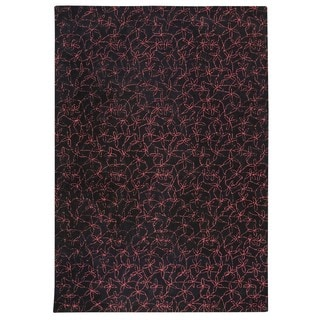 M.A. Trading Indo Hand-tufted Madeira Black/ Red Rug (4'6 x 6'6)