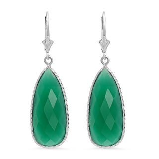 Rhodium Plated Sterling Silver Faceted Pear Green Onyx Drop Earring