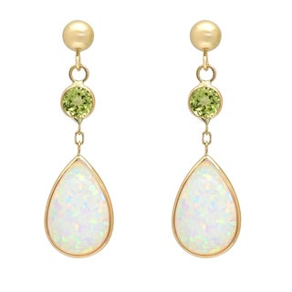 14K Gold Pear Created Opal and Peridot Drop Earring