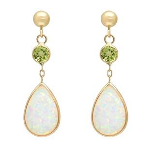 14K Gold Pear Created Opal and Peridot Drop Earring