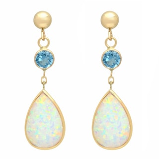 14K Gold Pear Created Opal and Blue Topaz Drop Earring