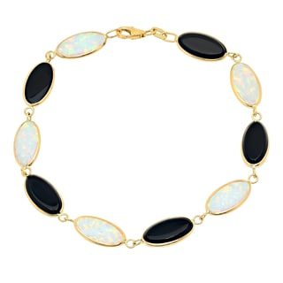 Sterling Essentials 14K Gold Creted Opal and Black Onyx Bracelet (7 inch)