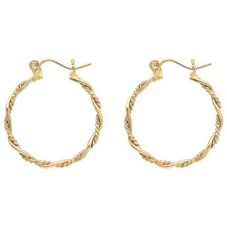 Sterling Essentials 14K Gold Round Rope Accent Hoop Earring