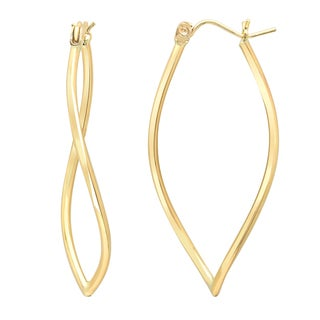 14K Gold Twisted Tube Drop Earring