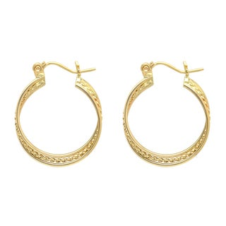 Sterling Essentials 14K Gold Hoop Earring with Rope Accent
