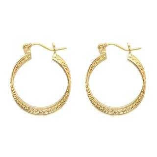 14K Gold Hoop Earring with Rope Accent|https://ak1.ostkcdn.com/images/products/11781206/P18692281.jpg?impolicy=medium