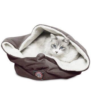 17-inch Faux Suede Burrow Cat Bed