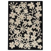 Handmade M.A. Trading Indo Newport Charcoal/ White Rug (India)
