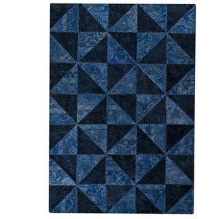 M.A.Trading Indo Hand-tufted Tile Blue Rug (7'10 x 9'10)
