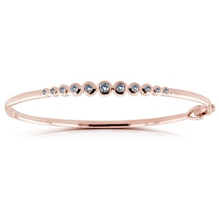 Annello by Kobelli 10k Rose Gold 1/2ct Round Bezel Diamond Bangle (H-I, I1-I2)