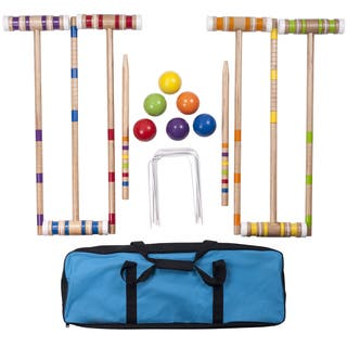 """Hey! Play! Complete Croquet Set with Carrying Case - Multicolor - 3"""" Ball"""