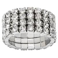 Silver-color Crystal Four-layer Expandable Luxury-Style Ring - Silver