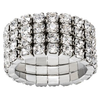 Silver-color Crystal Four-layer Expandable Luxury-Style Ring