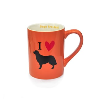 Kityu Gift I Love Dogs Orange 16-Ounce Ceramic Mug