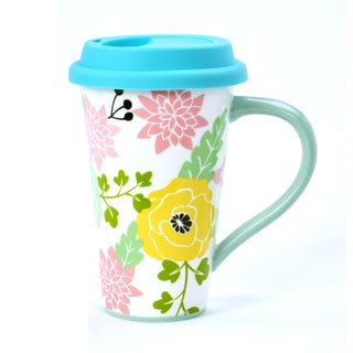Kityu Gift Floral Pattern Travel Mug With Silicone Lid