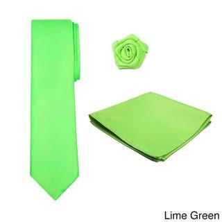 Men's 3-piece XL Tie, Hanky and Open Rose Lapel Flower Set