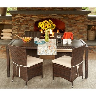 Handy Living Aldrich Brown Indoor/Outdoor 5-piece Rectangle Dining Set with Beige Cushions