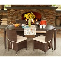 Havenside Home Stillwater Brown Indoor/Outdoor 5-piece Rectangle Dining Set with Beige Cushions