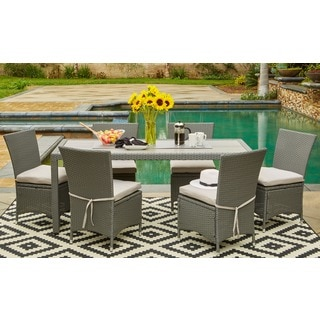 Handy Living Aldrich Grey Indoor/Outdoor 7-piece Rectangle Dining Set with Grey Cushions