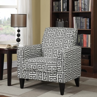 Portfolio Tia Charcoal Grey Greek Key Arm Chair