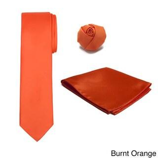 Men's XL 3-piece Rose Lapel Hanky Tie Set