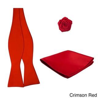 Self Tie 3-piece Hanky Open Rose Lapel Flower Bowtie Set