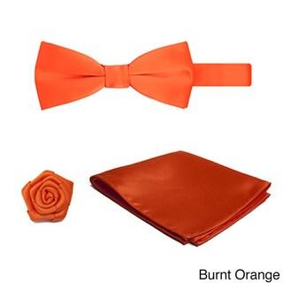 Pre-tied Banded Bowtie Hanky Open Rose Lapel Flower 3-piece Set