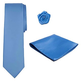 Men's Tie, Hanky and Open Rose Lapel Flower 3-piece Set (XL)
