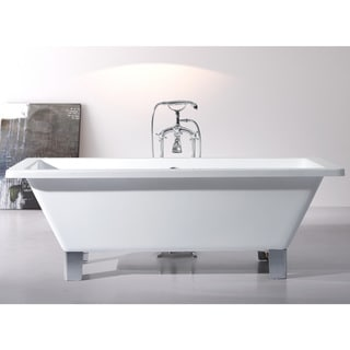 Modern Freestanding 71-inch Acrylic Tub with Square Feet