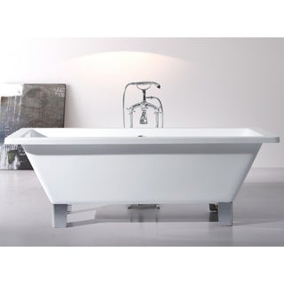 Modern Freestanding 71 Inch Acrylic Tub With Square Feet
