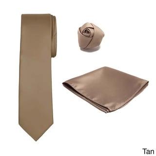 Jacob Alexander Men's XL Tie Hanky Rose Lapel Flower 3-piece Set