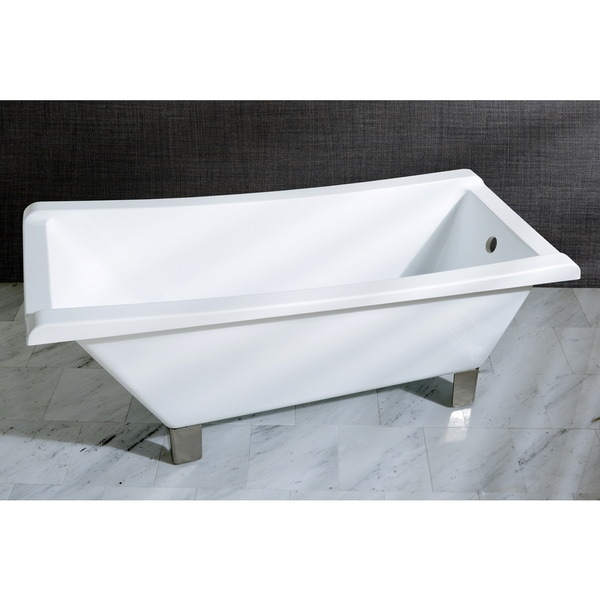 Fusion Freestanding Slipper 67-inch Acrylic Tub with Square Feet