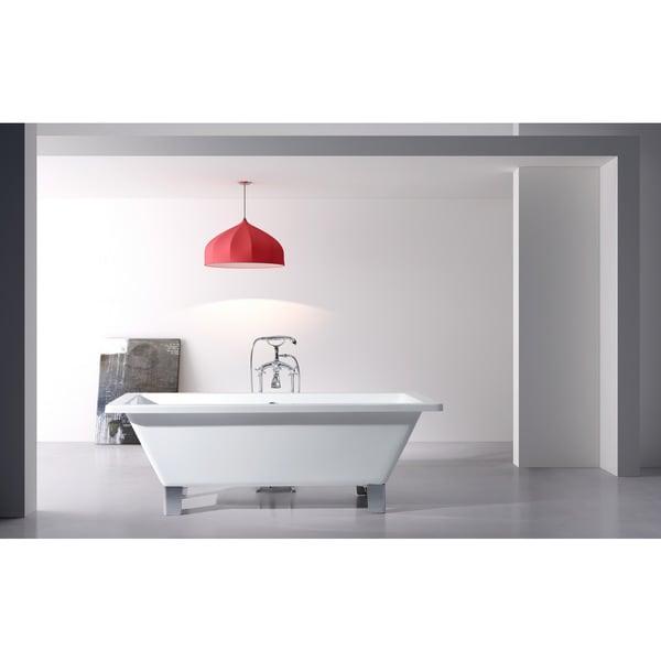 Square Tub modern freestanding 67-inch acrylic tub with square feet - free
