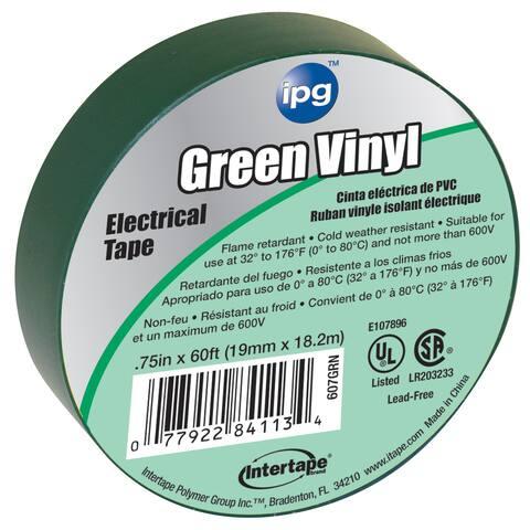 "Intertape Polymer Group 85827 3/4"" x 60' Green Vinyl Electrical Tape"
