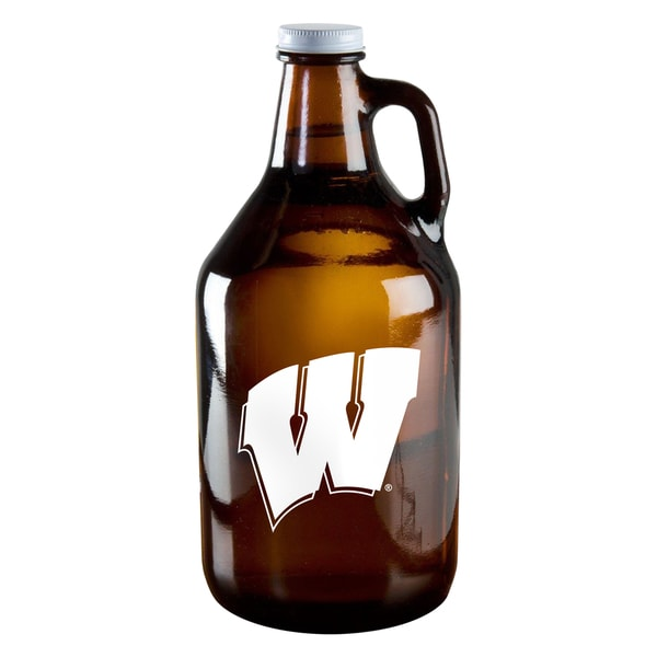 Wisconsin Badgers 64-ounce Amber Glass Growler