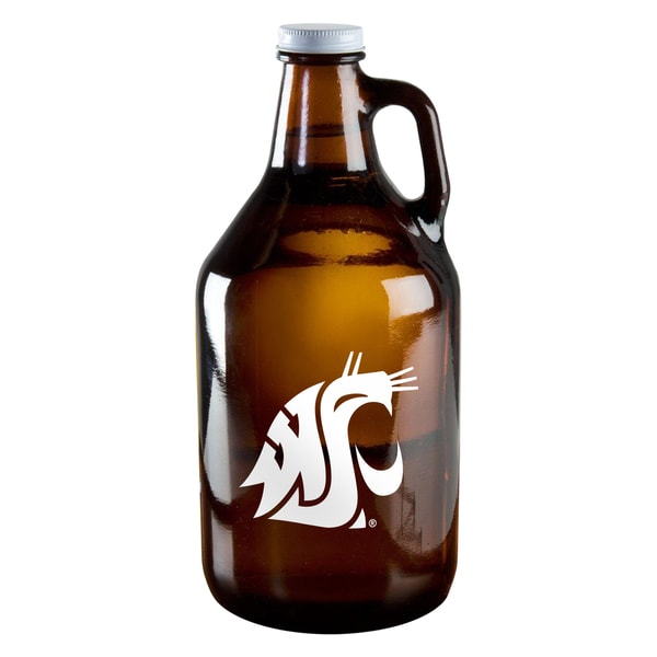 Washington State Cougars 64-ounce Amber Glass Growler