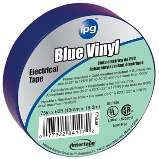 "Intertape Polymer Group 85831 3/4"" x 60' Blue Vinyl Electrical Tape"