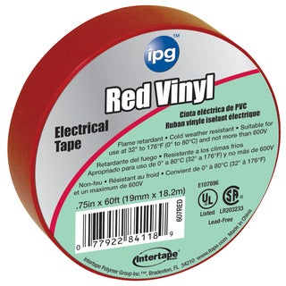 "Intertape Polymer Group 85832 3/4"" x 60' Red Vinyl Electrical Tape"