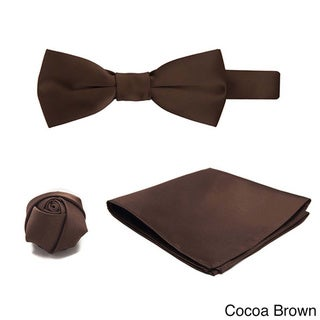 3-piece Pre-tied Banded Bowtie, Hanky and Rose Lapel Flower Set