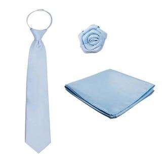 Men's 3-piece Pre-tied Zipper Tie, Hanky and Open Rose Lapel Flower Set