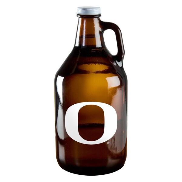Oregon Ducks 64-ounce Amber Glass Growler