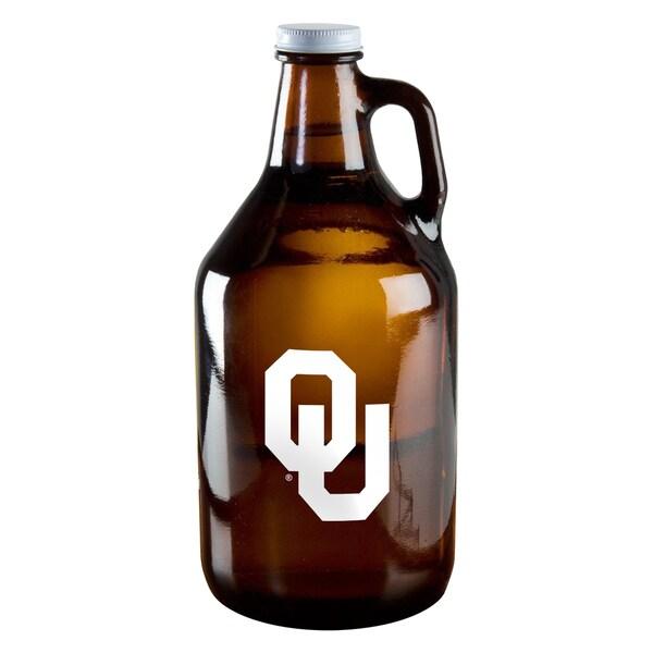 Oklahoma Sooners 64-ounce Amber Glass Growler