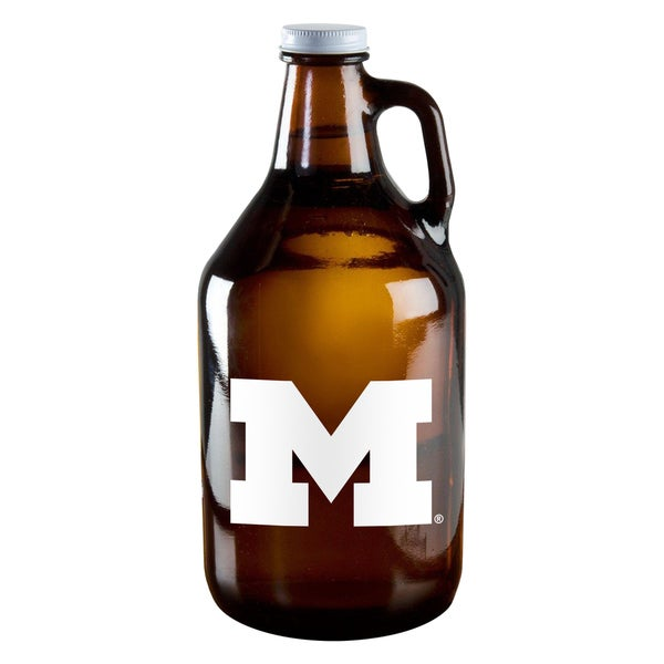 Michigan Wolverines 64-ounce Amber Glass Growler