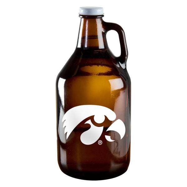 Iowa Hawkeyes 64-ounce Amber Glass Growler
