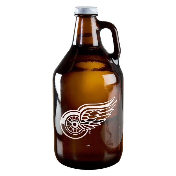 Detroit Red Wings 64-ounce Amber Glass Growler