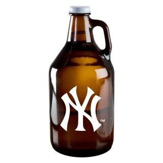 New York Yankees 64-ounce Amber Glass Growler