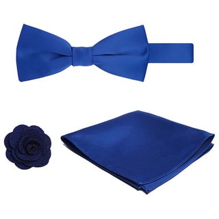 Men's 3-piece Pre-tied Banded Bowtie, Hanky and Crepe Lapel Flower Set