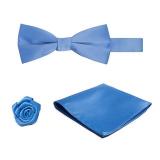 Jacob Alexander Men's Pretied Banded Bow Tie and Hanky Set with Lapel Flower