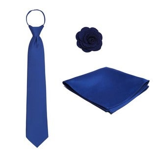 Crepe Pre-tied Zipper Tie Hanky Lapel Flower 3-piece Set
